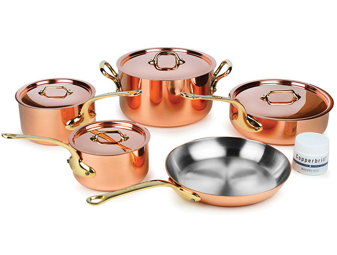 Mauviel M'heritage 250B 9 Piece 2.5mm Copper Cookware Set