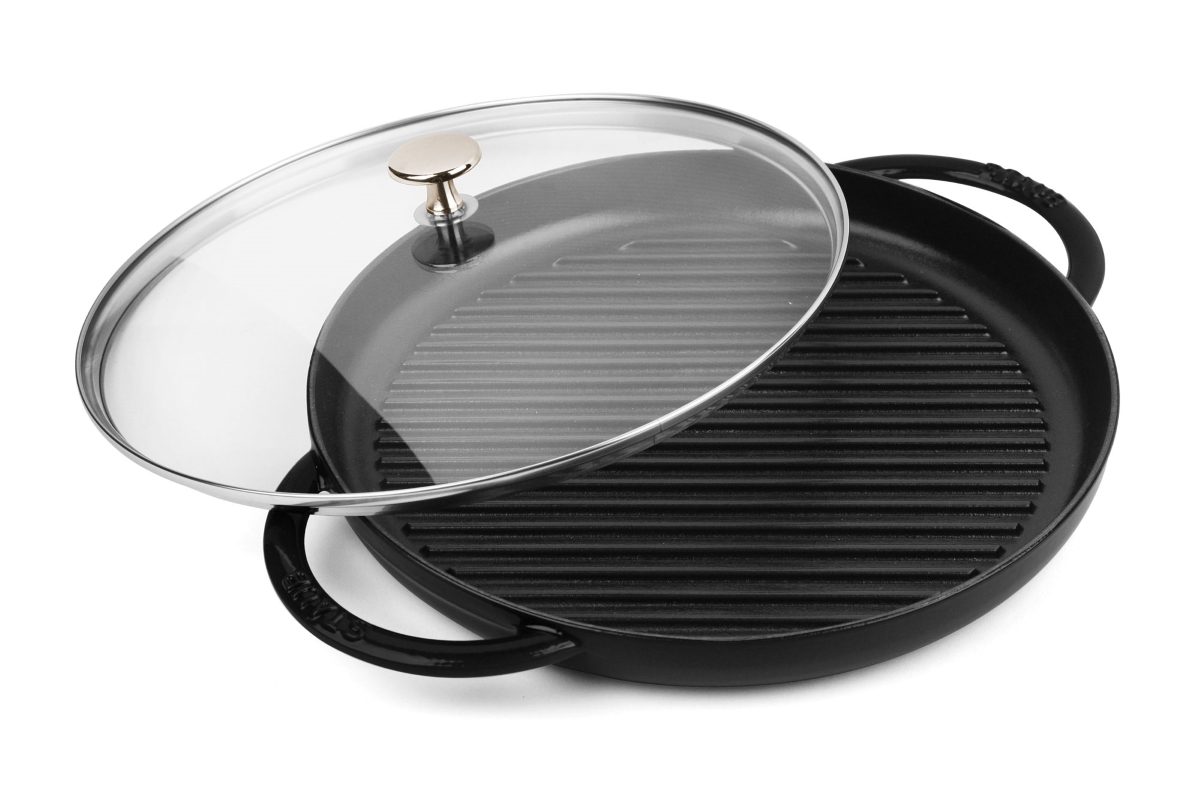 "Staub 10"" Matte Black Steam Grill with Glass Lid"