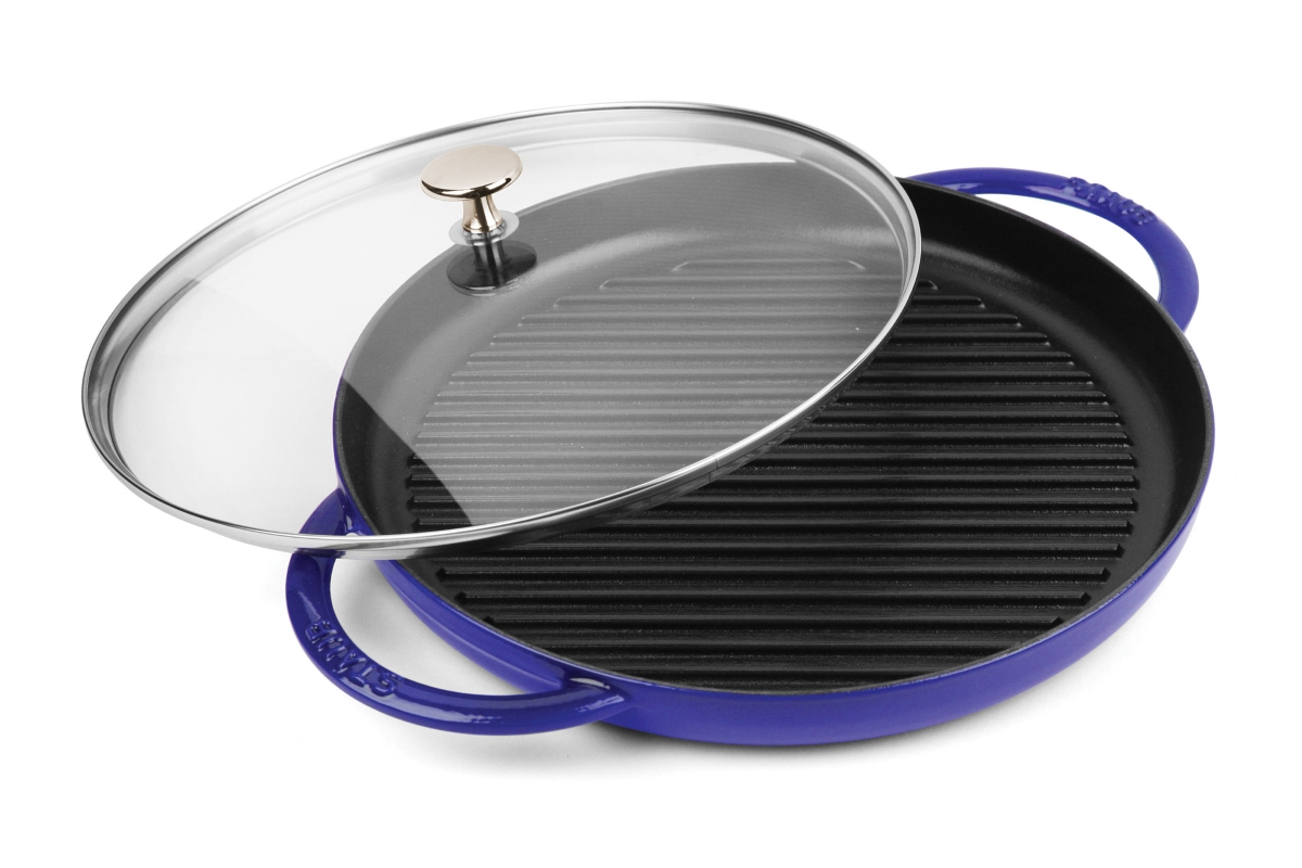 """Staub 10"""" Sapphire Blue Steam Grill with Glass Lid"""