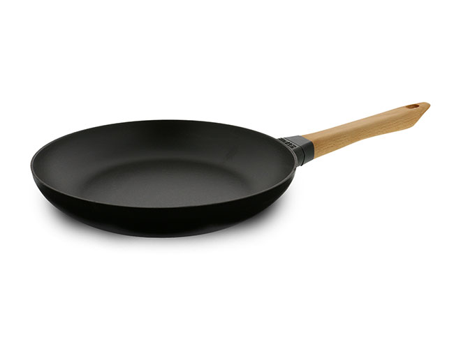 """Staub 10"""" Matte Black Traditional Cast Iron Fry Pan with Wooden Handle"""