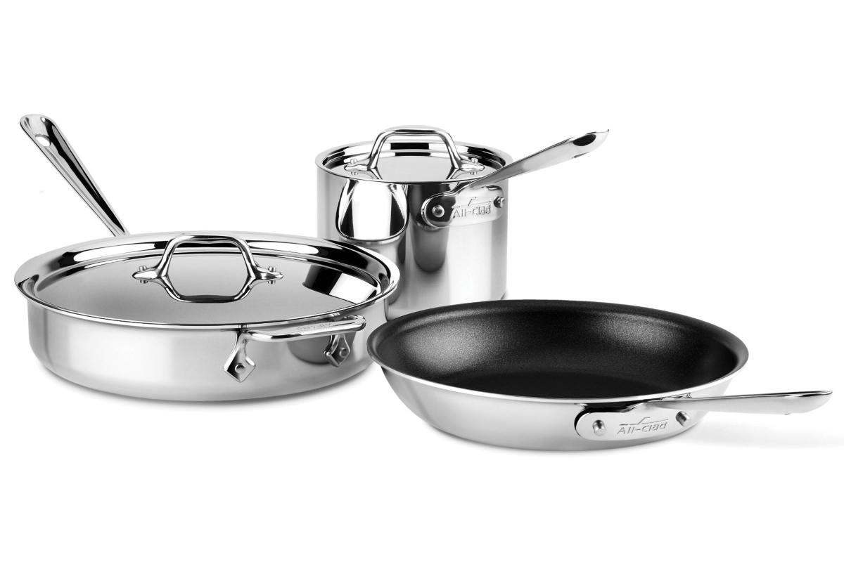 All-Clad d3 Stainless 5 Piece Nonstick Cookware Set