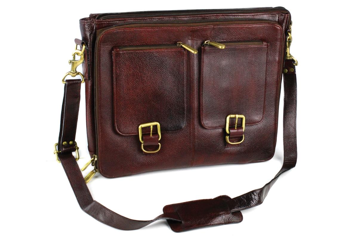 Boldric 10 Pocket Brown Leather Messenger Knife Bag