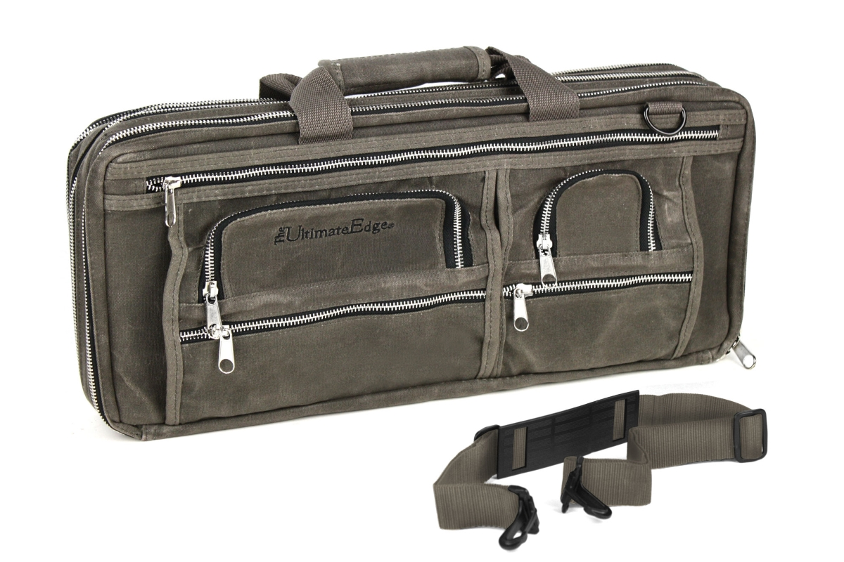 Ultimate Edge 18 Pocket Smoke Evolution Deluxe Oil Wax Canvas Knife Bag