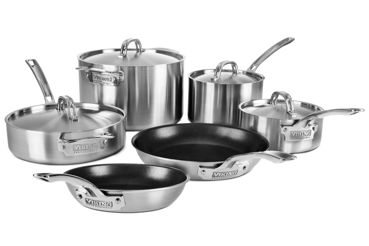 Viking Professional 5 Ply Stainless Steel Cookware Set With Nonstick Skillets 10 Piece