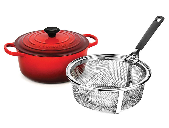 Le Creuset Signature Cast Iron 5.5-quart Cherry Red Round Dutch Oven with Fry Basket