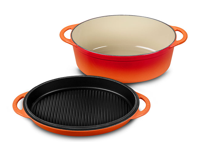 Le Creuset Cast Iron 4.75-quart Flame Oval Oven with Reversible Grill Pan Lid