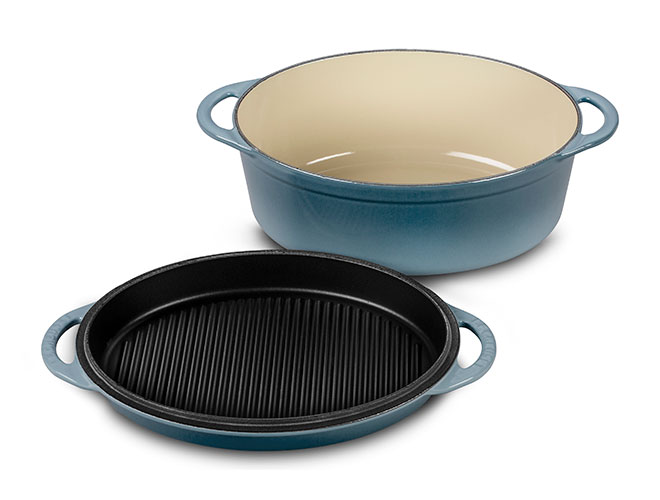 Le Creuset Cast Iron 4.75-quart Marine Oval Oven with Reversible Grill Pan Lid