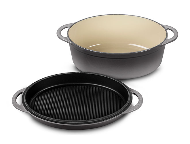 Le Creuset Cast Iron Oval Oven with Grill Pan Lid
