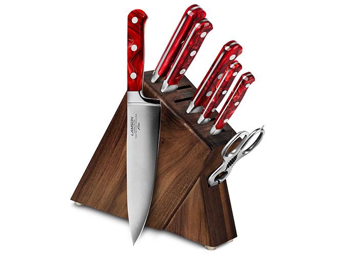 Lamson Fire 8 Piece Walnut Slim Knife Block Set