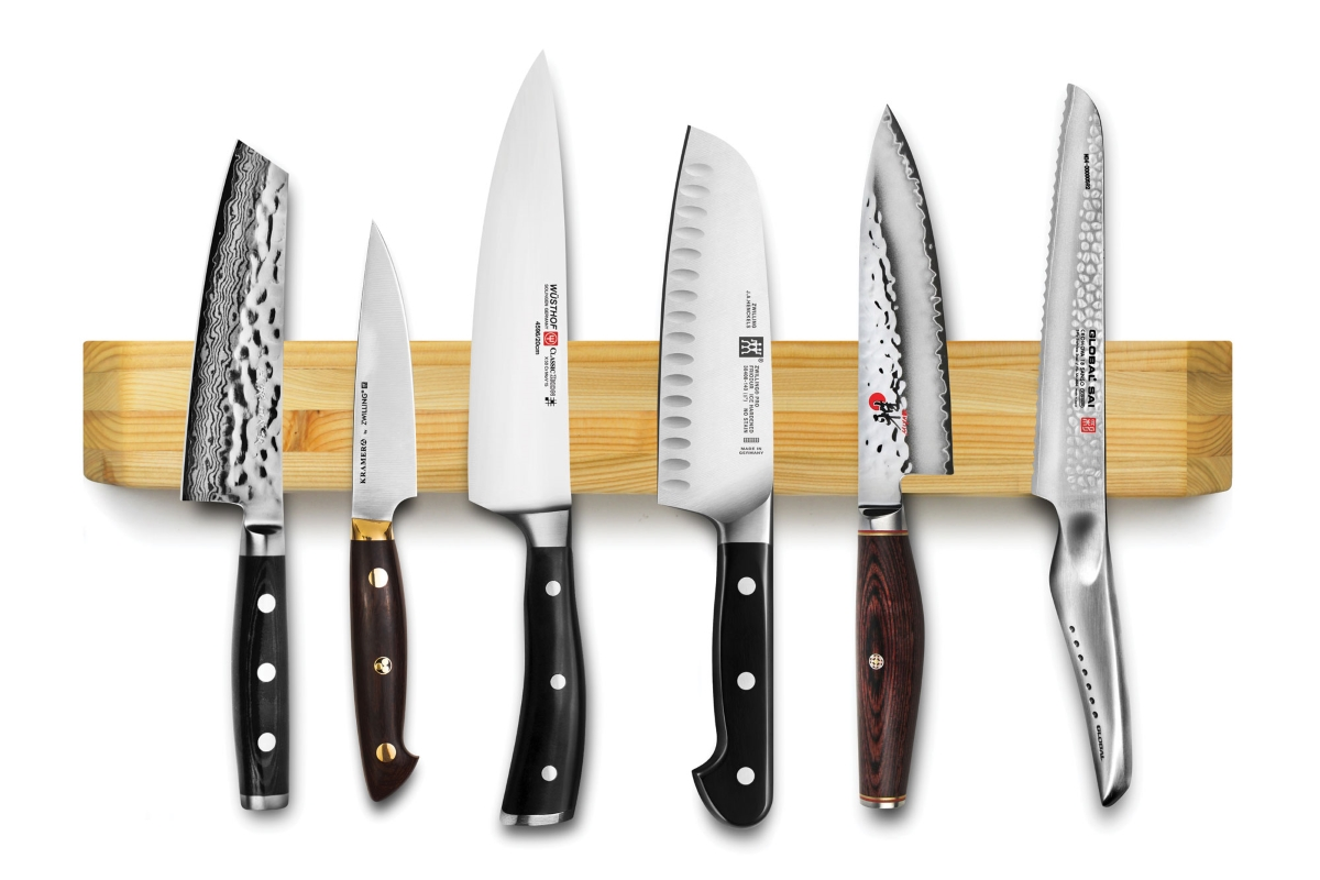 """Larch Wood 22.5"""" Wall-Mount Magnetic Knife Holder"""