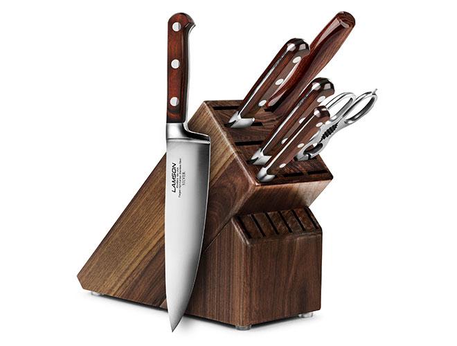 Lamson Silver 7 Piece Walnut Knife Block Set