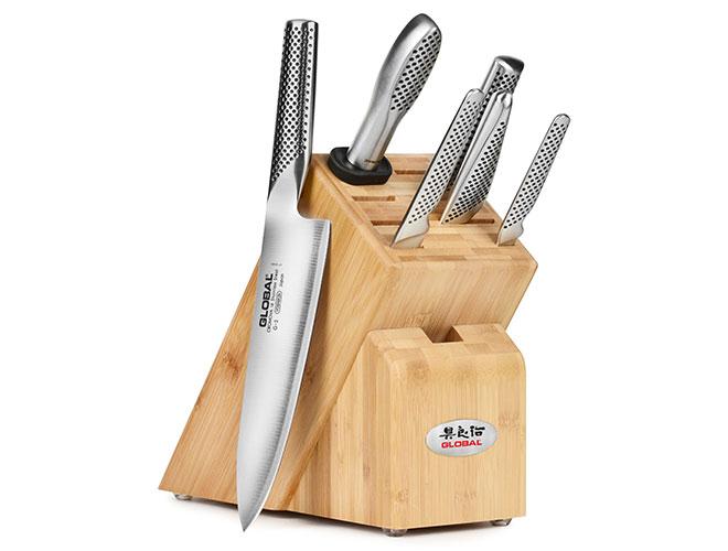 Global 7 Piece Bamboo Knife Block Set