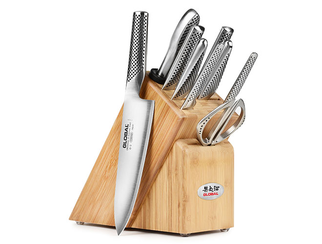 Global 10 Piece Bamboo Knife Block Set