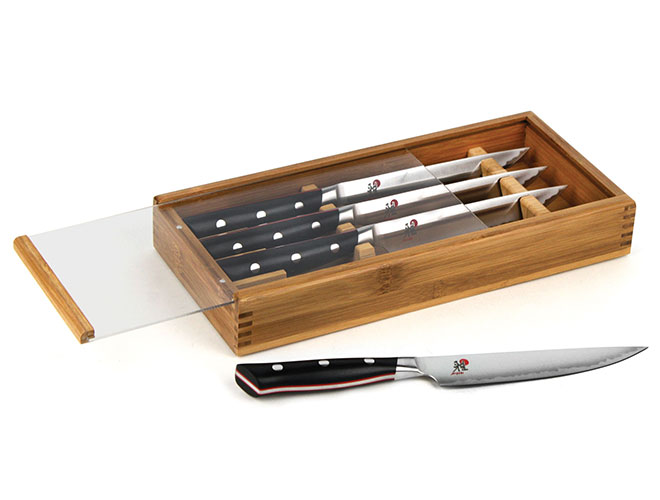 Miyabi Evolution 4 Piece Steak Knife Set with Bamboo Case