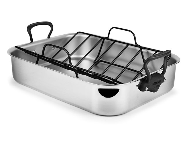 "Mauviel M'cook Pro Stainless Steel 16x12"" Roasting Pan with Stainless Steel Iron Finish Handles"