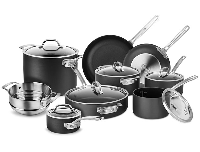 Viking Hard Anodized Nonstick 14 Piece Cookware Set with Bonus Steamer Insert