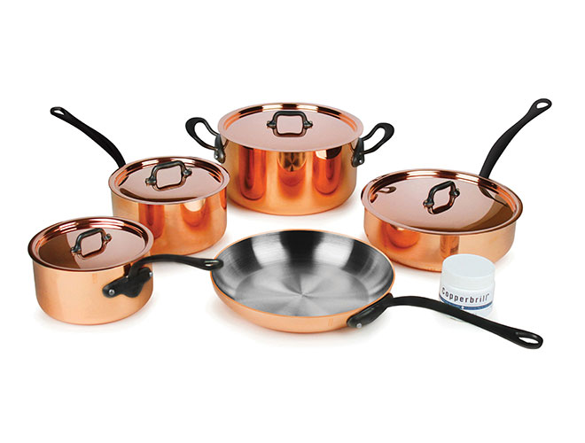 Mauviel M'heritage 250C 9 Piece 2.5mm Copper Cookware Set