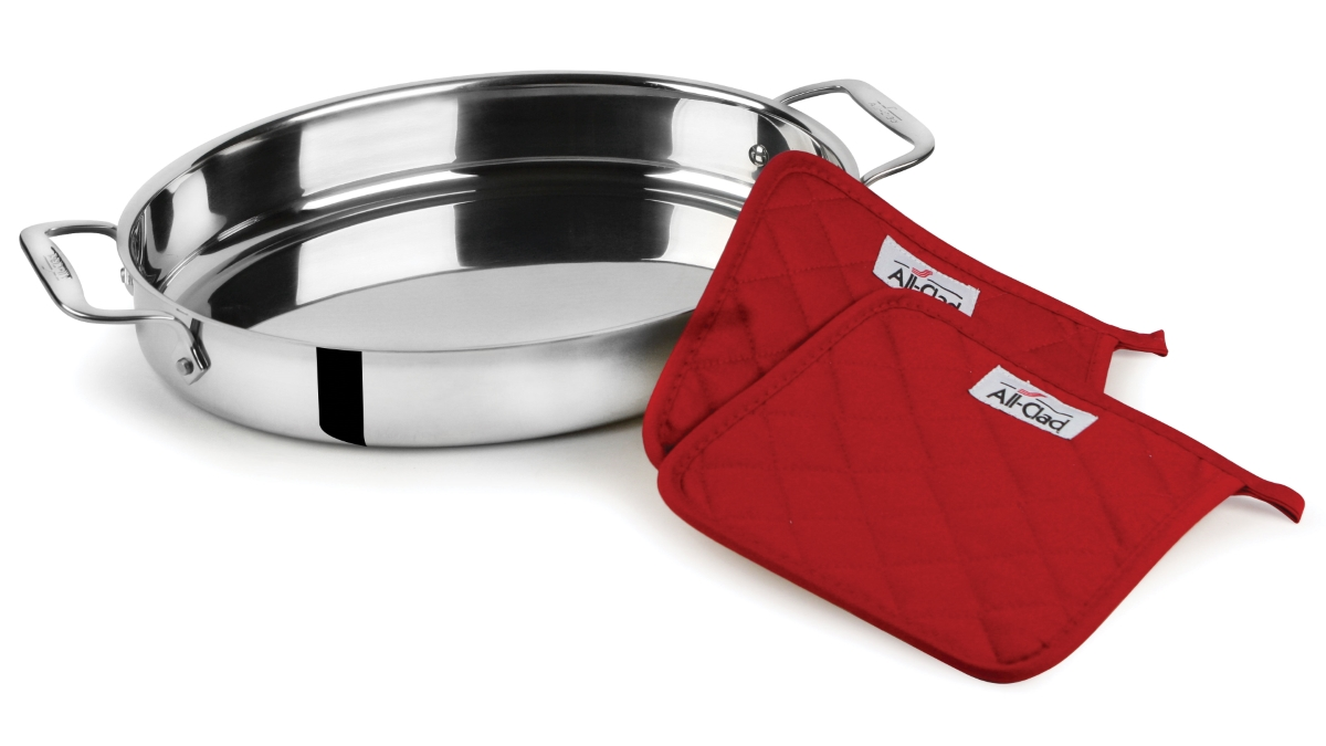 "All-Clad 15"" Stainless Steel Oval Baker with Pot Holders"