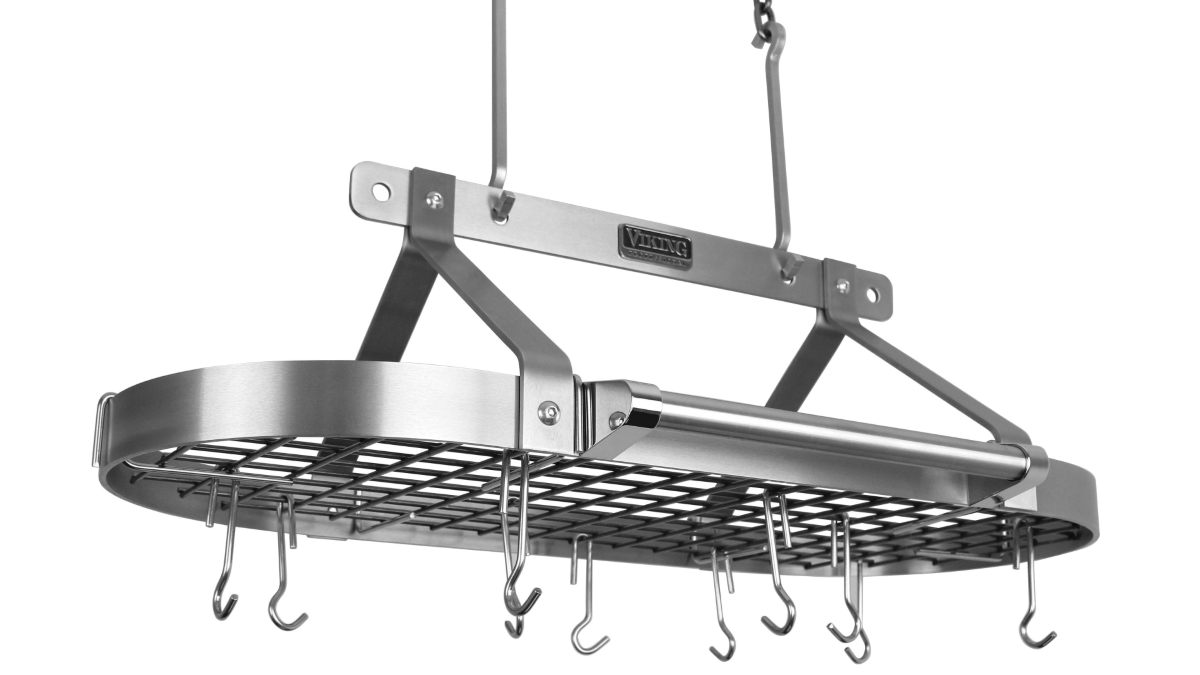 """Viking 36"""" Professional Deluxe Stainless Steel Pot Rack with Chain"""