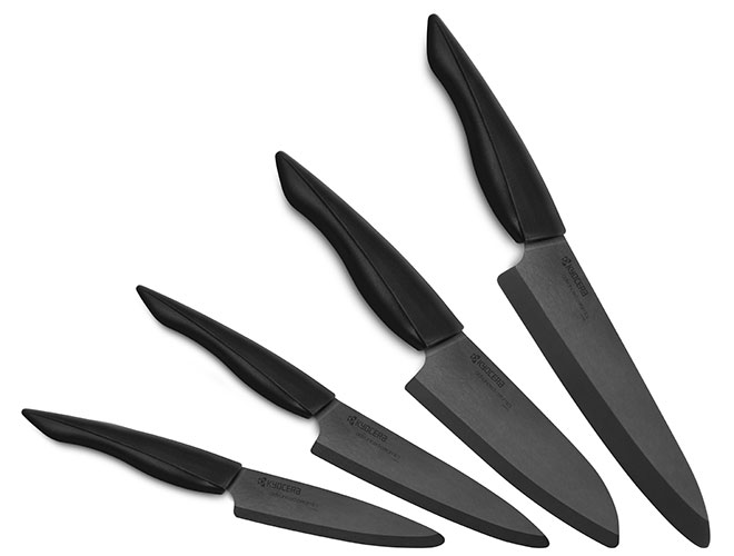Kyocera Innovation 4 Piece Black Z212 Ceramic Knife Set with Soft Grip Handles