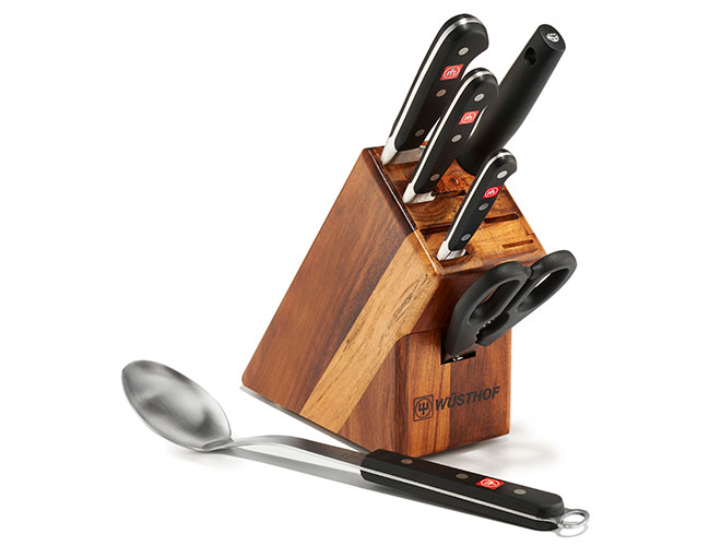 Wusthof Classic 6 Piece Acacia Knife Block Set with Bonus Cooking Spoon