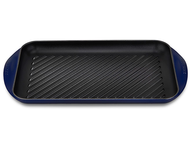 "Le Creuset Cast Iron 15.75x9"" Indigo XL Double Burner Grill Pan"