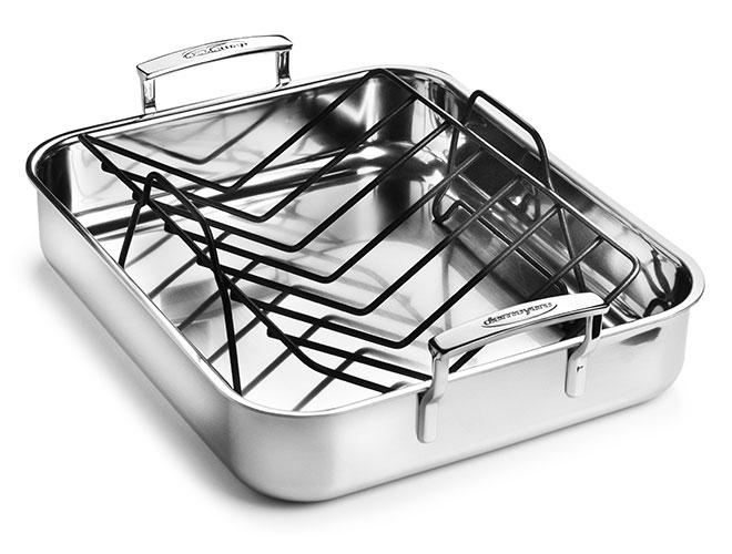 "Demeyere 5-Plus 15.7x13.3"" Stainless Steel Roasting Pan with Rack"