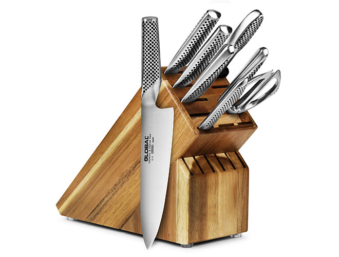 Global 9 Piece Acacia Knife Block Set