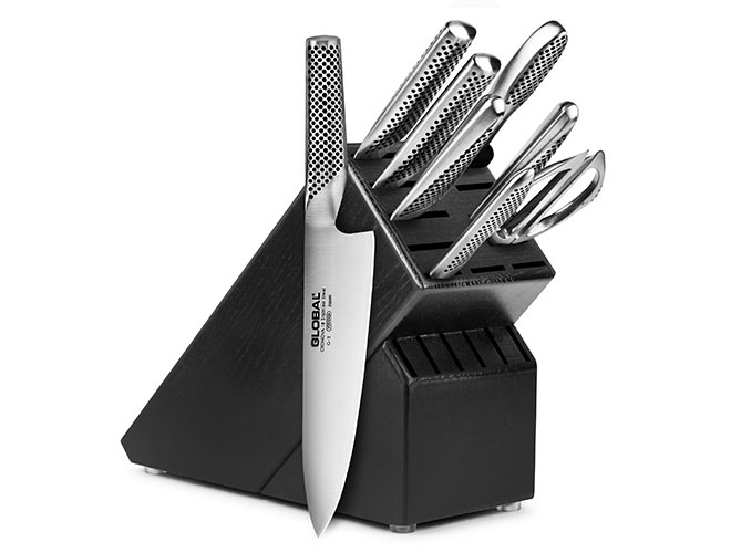 Global 9 Piece Black Knife Block Set