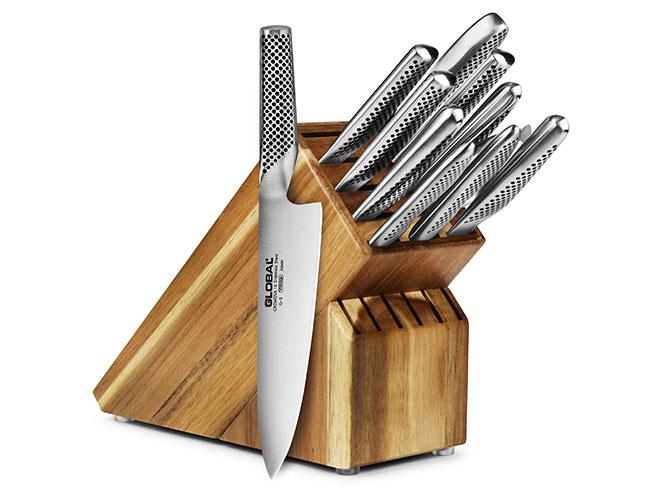 Global 12 Piece Acacia Knife Block Set
