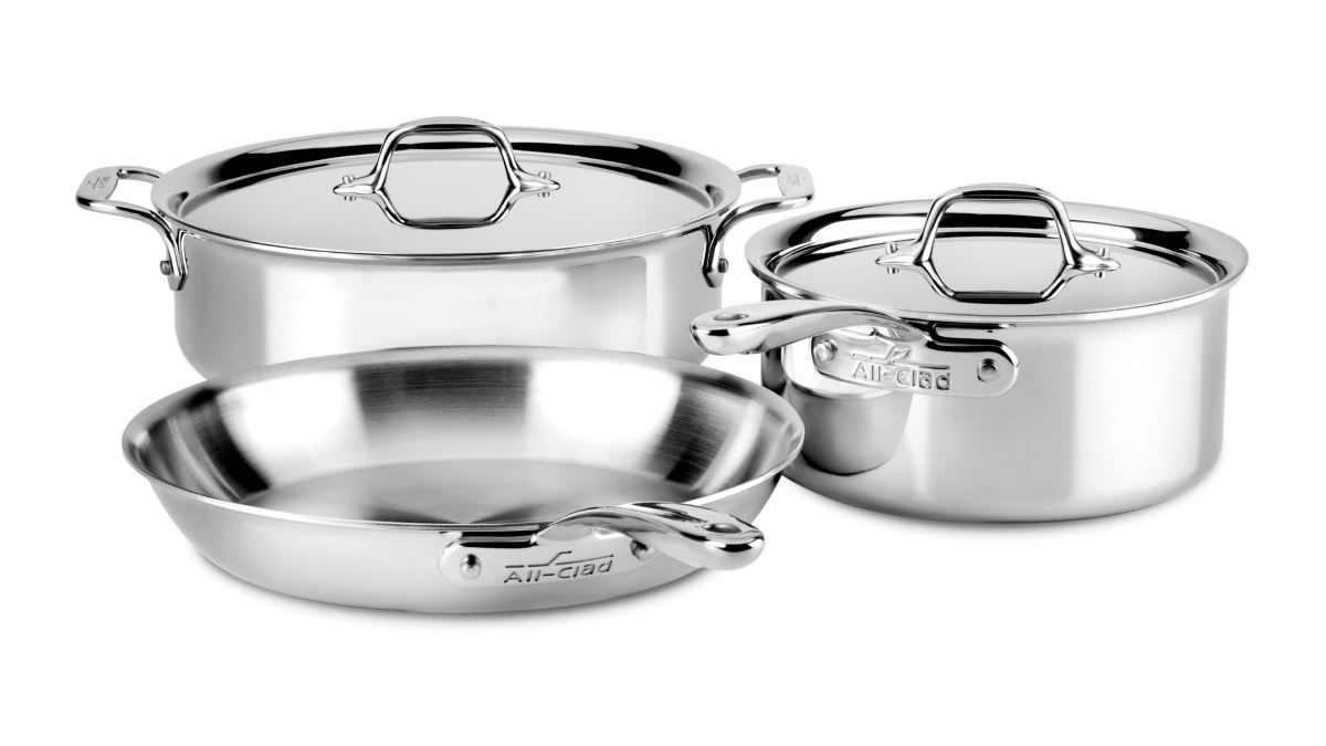 All-Clad d3 Stainless 5 Piece Compact Cookware Set