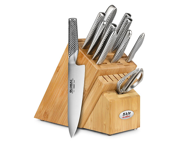Global 12 Piece Bamboo Knife Block Set