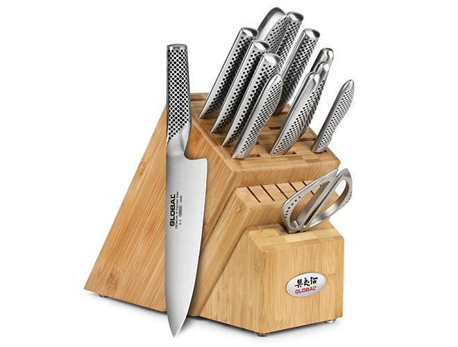 Global 14 Piece Bamboo Knife Block Set