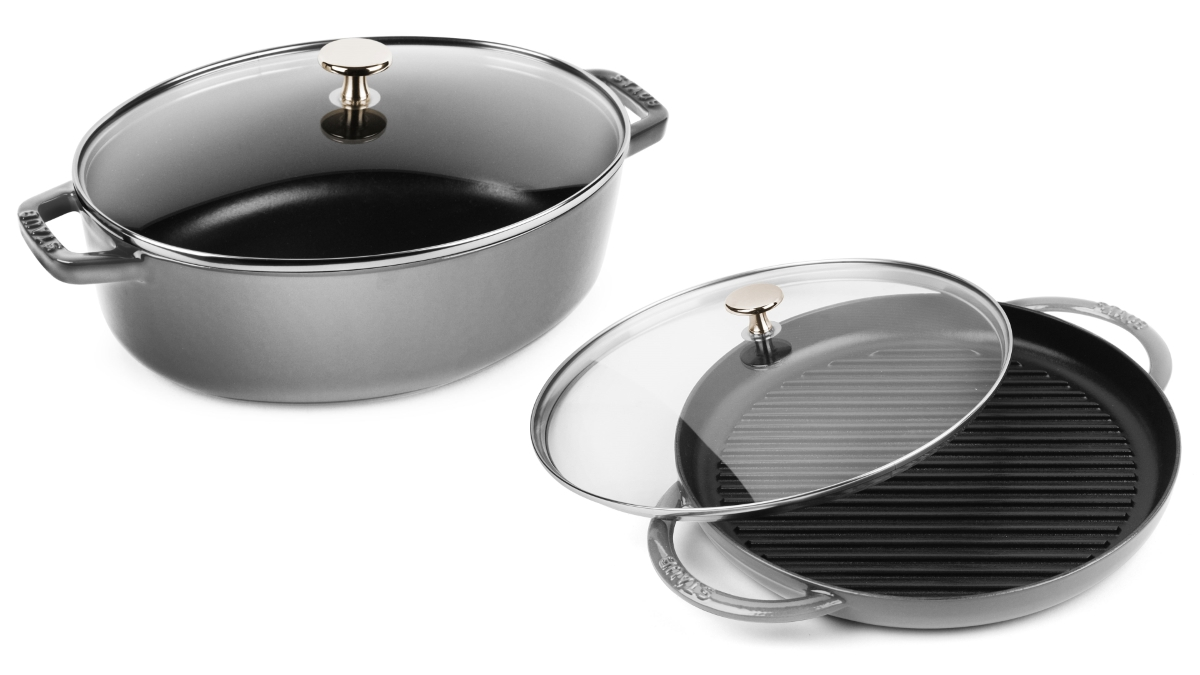 Staub 4.25-quart Oval Cast Iron Cocotte & Steam Grill Set with Glass Lids
