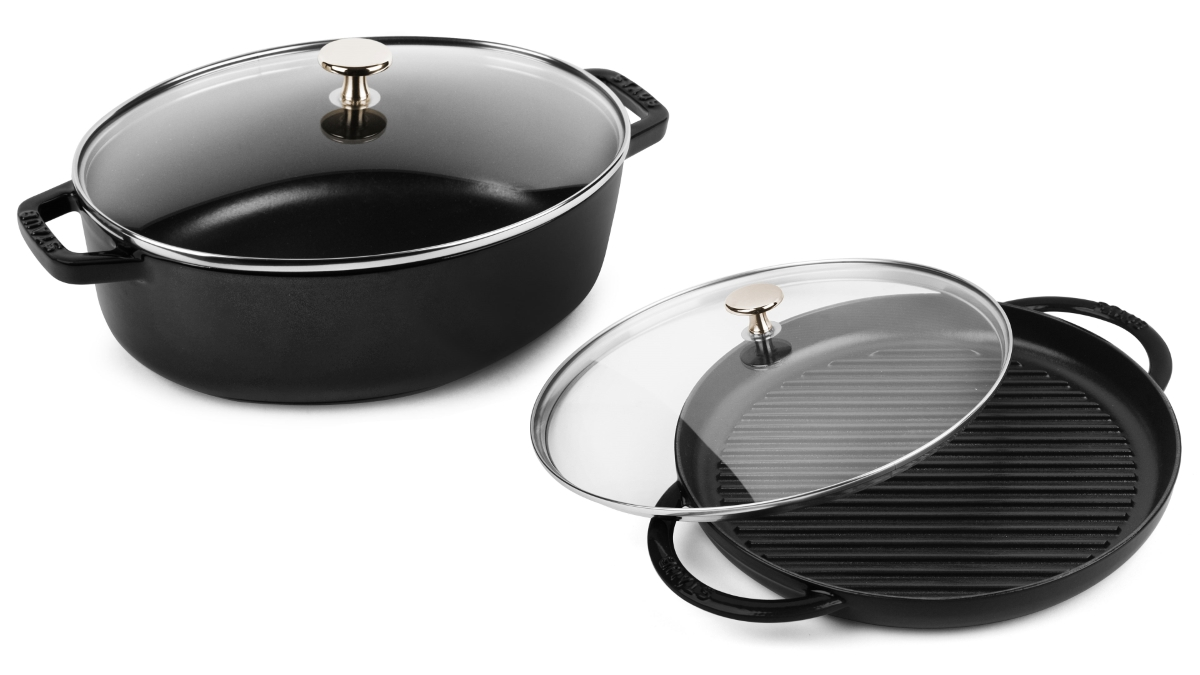 Staub 4 Piece Matte Black Oval Cocotte & Steam Grill Set with Glass Lids