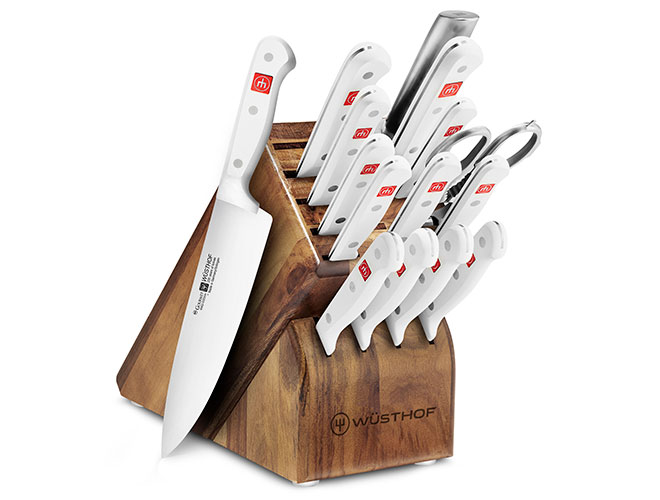 Wusthof Gourmet 16 Piece Knife Block Set with White Handles