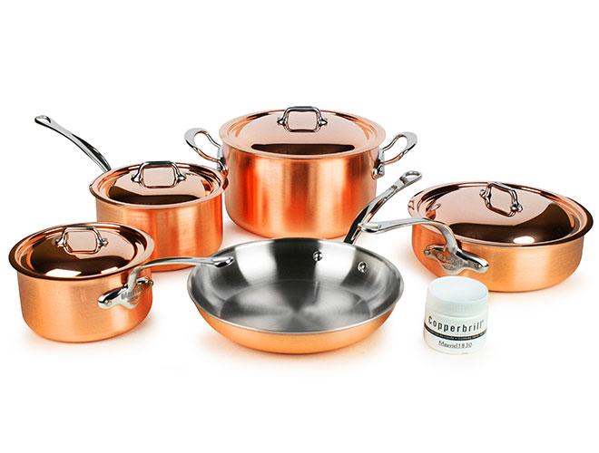 Mauviel M'3s Tri-Ply Copper 9 Piece Cookware Set