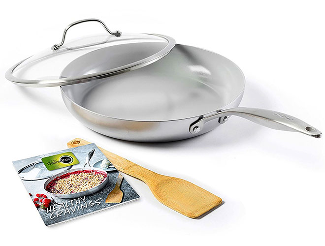 "GreenPan Venice Pro 11"" Covered Skillet with Cookbook and Turner"