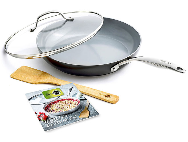 "GreenPan Valencia Pro 11"" Covered Skillet with Cookbook and Turner"