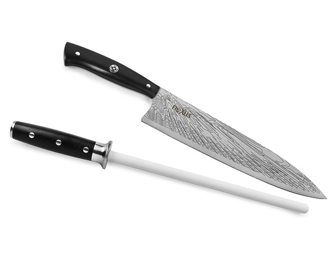 "Nexus BD1N Stainless Steel 9.5"" Limited Edition v2 Chef's Knife with Bonus Ceramic Honing Rod"