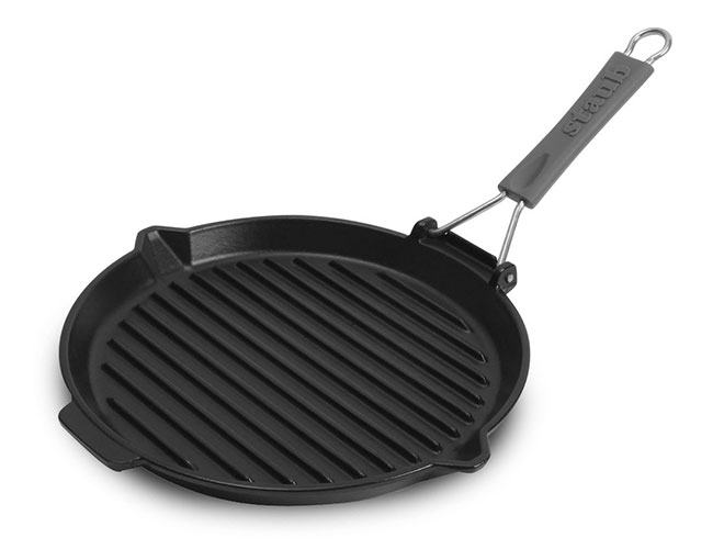 "Staub 10"" Round Cast Iron Grill Pan with Folding Handle"