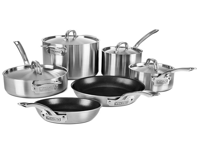 Viking Professional 5-ply 10 Piece Stainless Steel Cookware Set with Nonstick Skillets