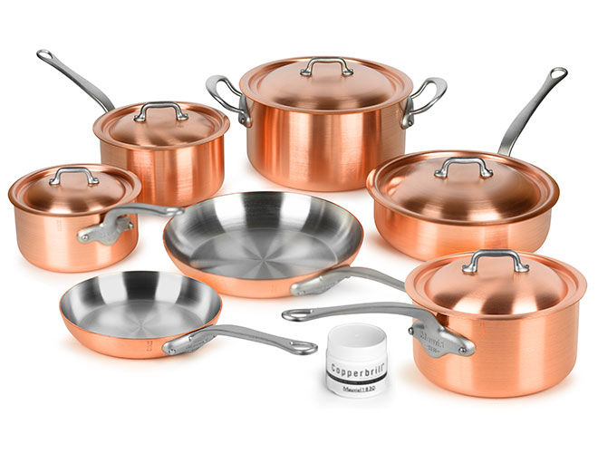 Mauviel M'heritage 250S 12 Piece 2.5mm Brushed Copper Cookware Set