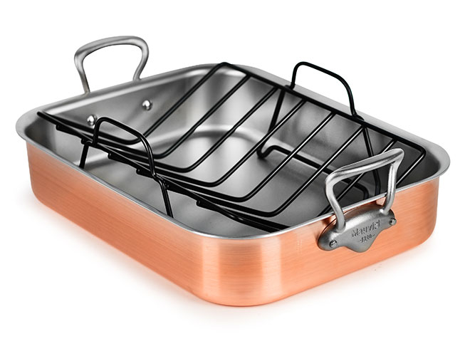 "Mauviel M'heritage 250S 16x12"" Tri-Ply Brushed Copper Roasting Pan"