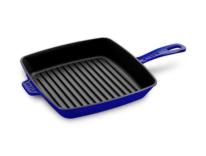 "Staub 10"" Sapphire Blue Square Grill Pan"