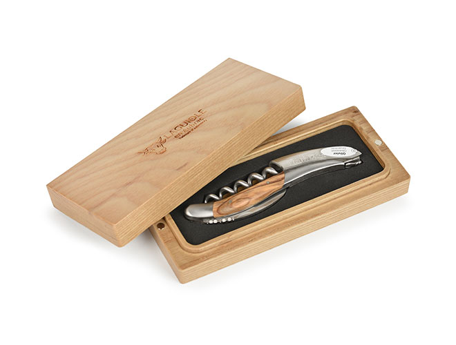 Laguiole en Aubrac Sommelier Stainless Steel Corkscrew with Olive Wood Handle