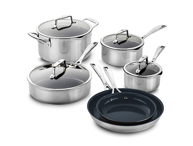 Zwilling J.A. Henckels Clad CFX 10 Piece Stainless Steel Ceramic Nonstick Cookware Set
