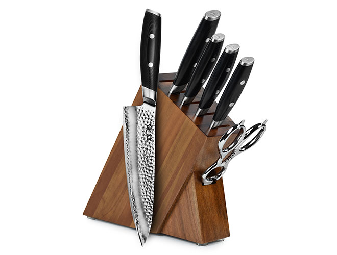 Yaxell Tsuchimon 7 Piece Acacia Slim Knife Block Set