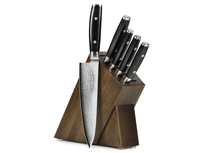 Yaxell Ran Plus 6 Piece Dark Ash Slim Knife Block Set