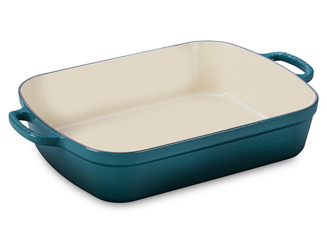 "Le Creuset Signature Cast Iron 14x10.75"" Deep Teal Roasting Pan"